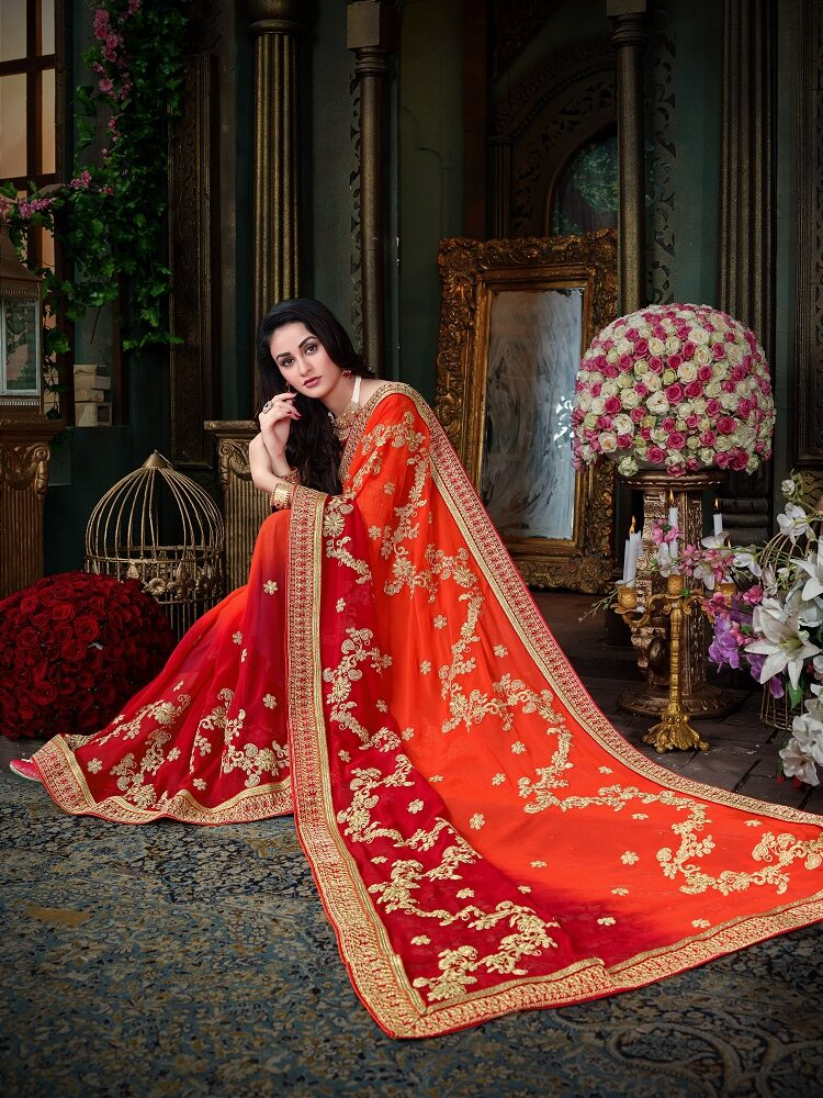 Latest Designer Wedding Red Sarees For Bride