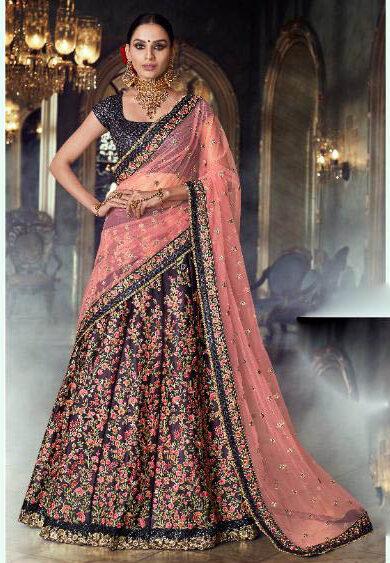 Latest Mode Designer Jamun Color Fancy Lehenga For Bride.