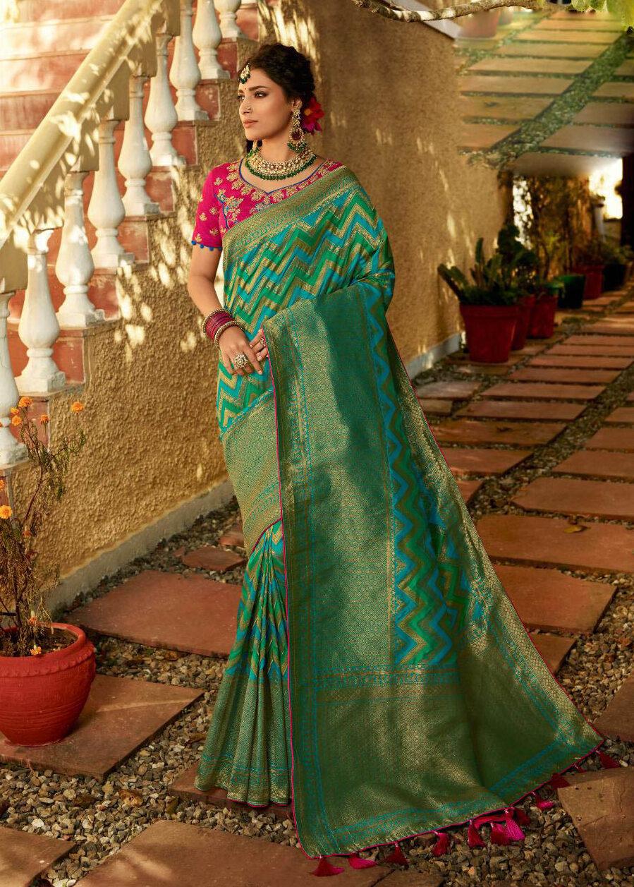 Latest Update Blue Color Banarsi Silk Saree With Contrast Blouse