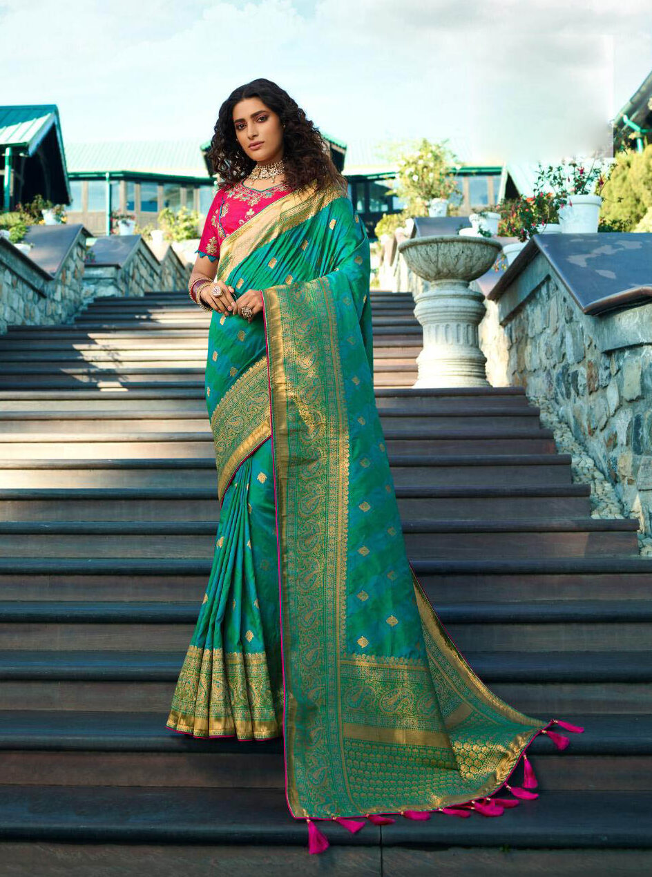 Latest Update Outfits Sky Blue Bridal Banarsi Silk Saree