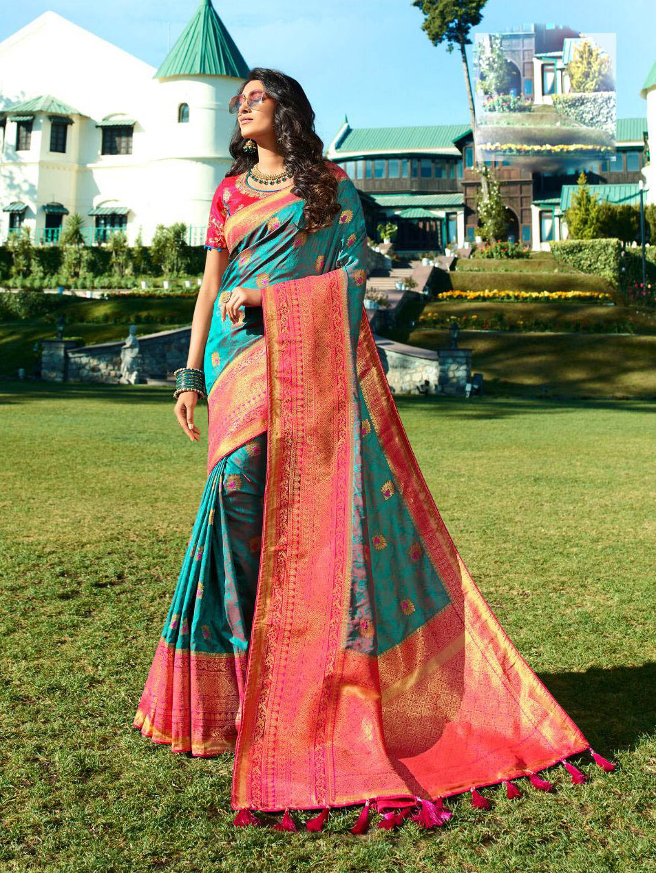 Latest Update Sky Blue Color Banarsi Silk Saree Online Price