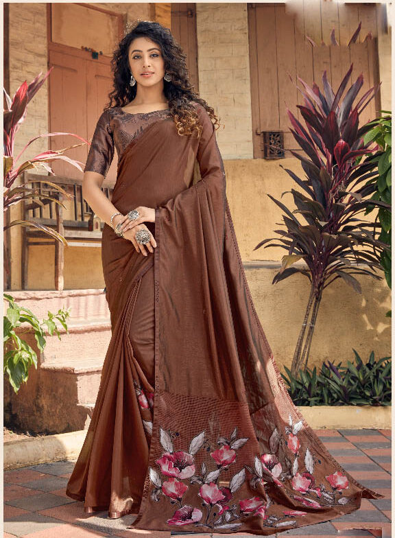 New Best Designer Brown Color Fancy Georgette Silk Saree