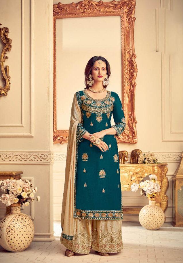 New Best Georgette Nevi Blue Color Sahara Suit For Bride