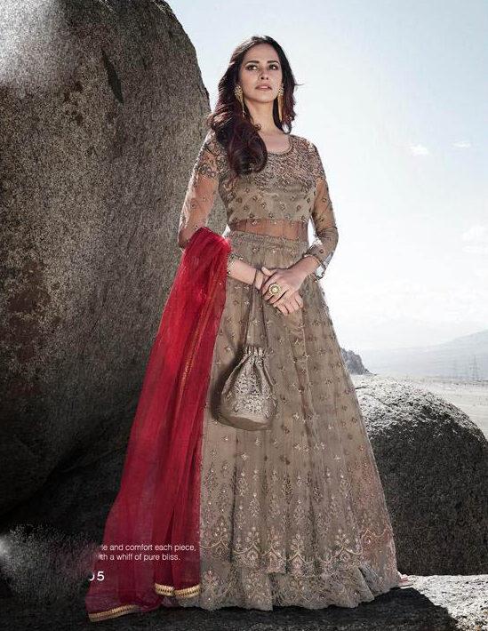New Best Trending Latest Light Grey Color Net Silk Gown For Bride