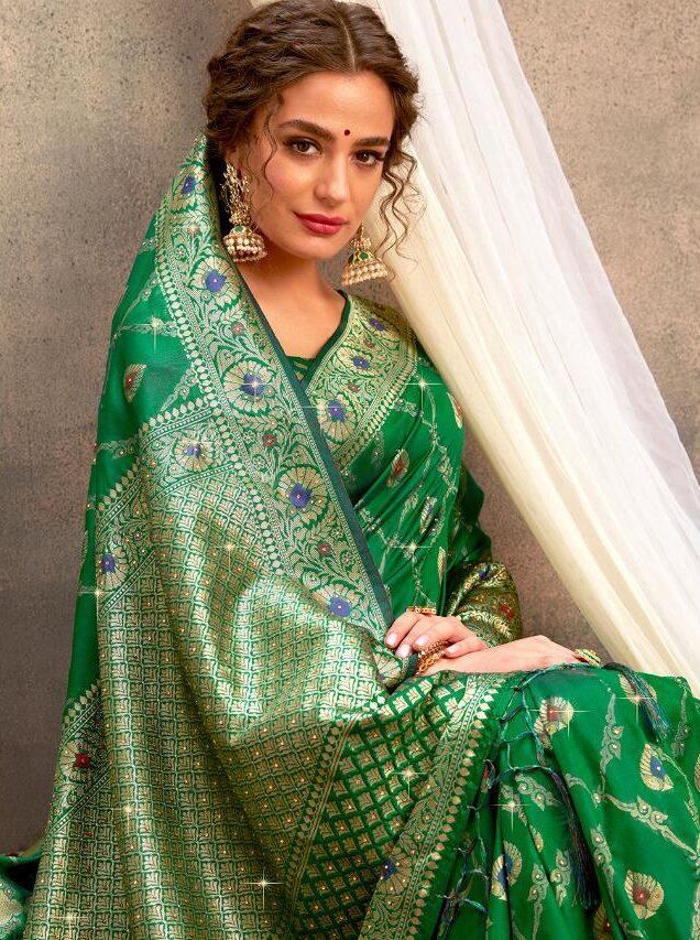 New Designer Dark Green Silk Saree with Golden Border