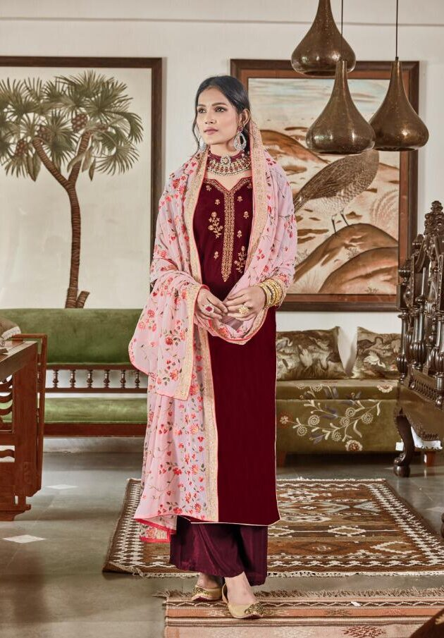 New Designer Red Color Velvet Punjabi Heavy Work Dupatta Suit