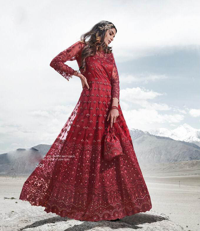 New Latest Design Red Color Bridal Gown Design