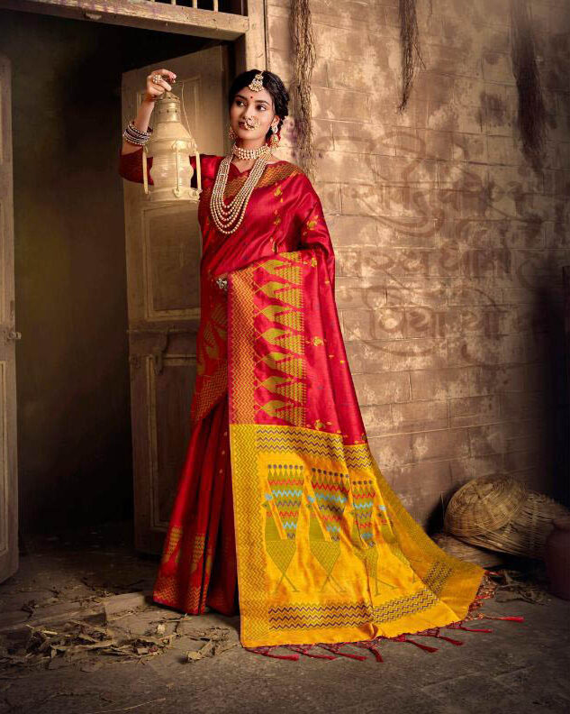 New Latest Designer Red Color Silk Saree With Blouse Design