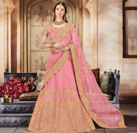 New Latest Mode Pink Color Lehenga For Royal Party Online.