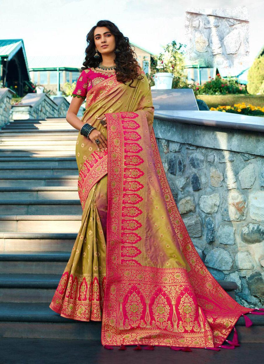 New Latest Update Greenish Color Royal Banarsi Silk Saree Price