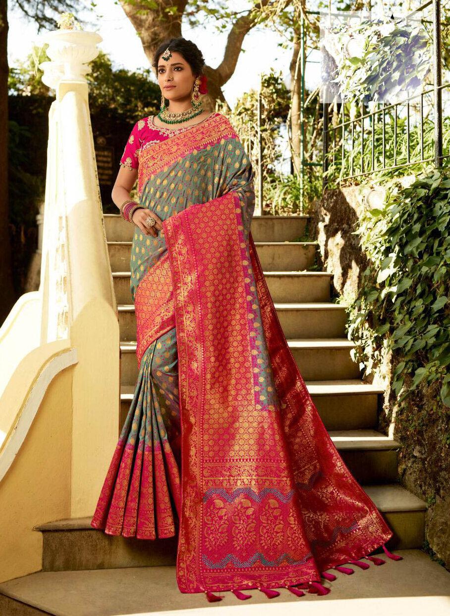 New Latest Update Light Grey Color Banarsi Silk Saree For Bride