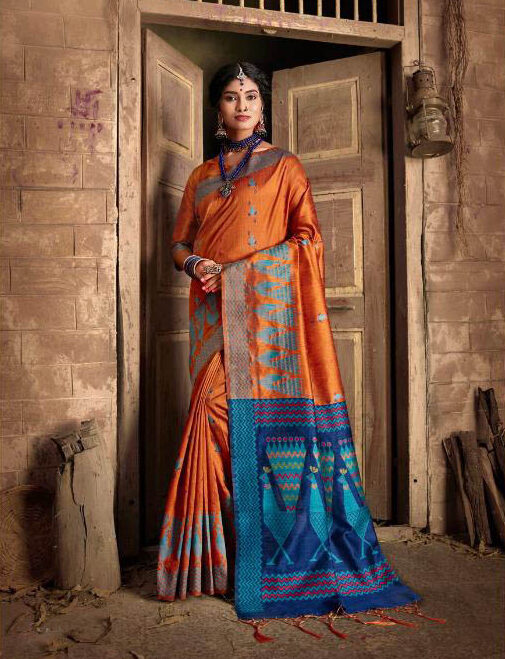 New Latest Update Orange Color Banarsi Silk Saree Online Price