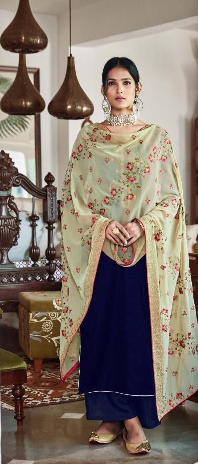 New Trend Designer Blue Color Velvet Heavy Work Dupatta