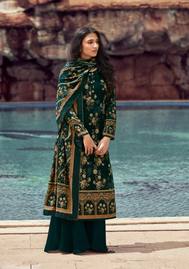 New Trend Designer Green Color Velvet Winter salwar kameez