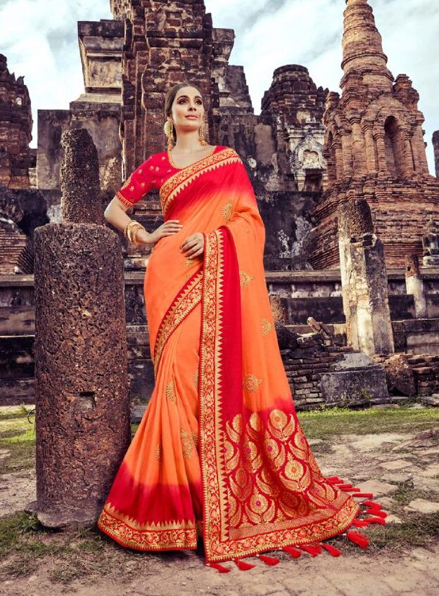 New Trend Designer Orange Color Latest Wedding Fancy Saree