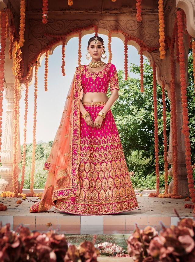 New Trend Designer Pink Color Wedding Lehenga For Bride.