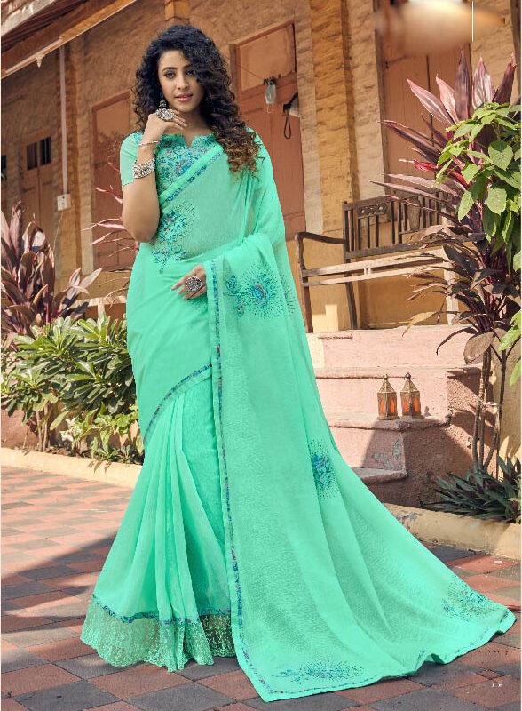 New Trend Designer Sky Blue Color Silk Georgette Saree Online
