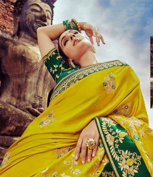 New Trend Designer Yellow Color Wedding Saree For Bride