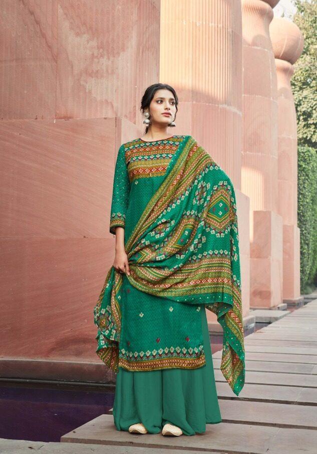 New Trend Green Color Green Pashmina Salwar Kameez.