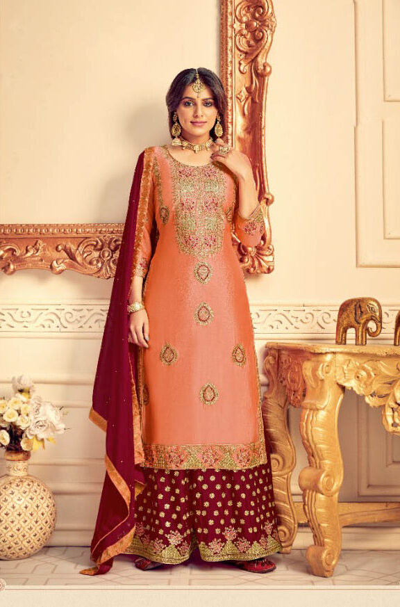 New Trend Light Orange Wedding Salwar Kameez For Bride