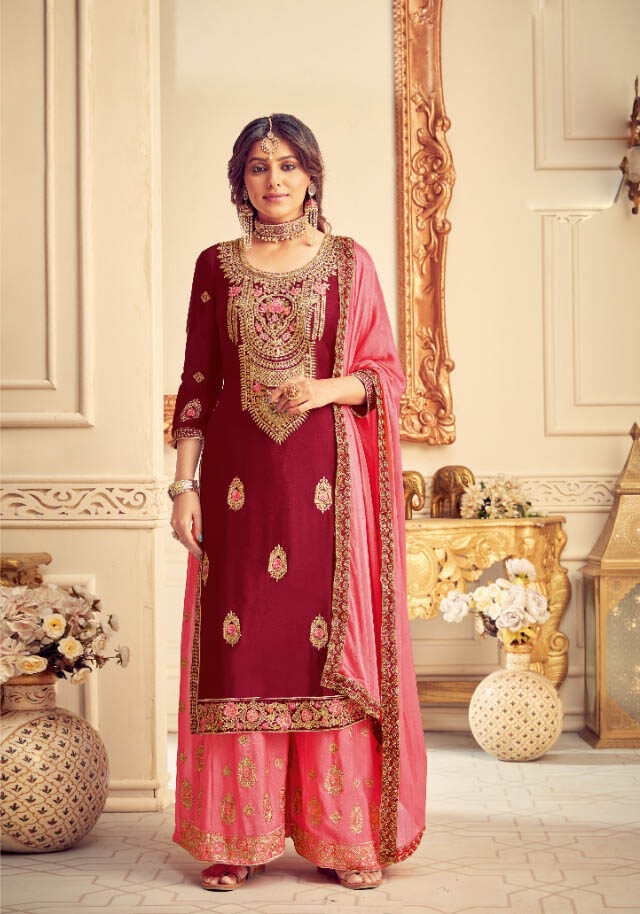 New Trend Red Color Punjabi Sahara Suit Cost