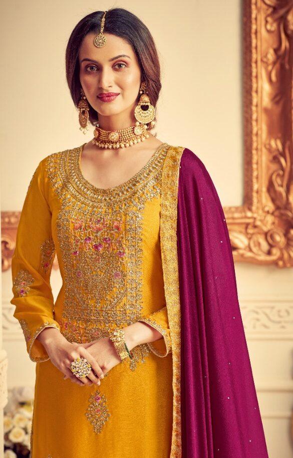 New Tumeric Color Punjabi Sahara Suit With Partywear