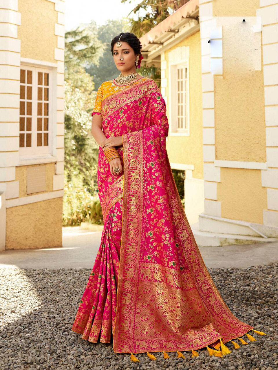 Online Shopping For Pink Color Banarsi Silk saree With Price