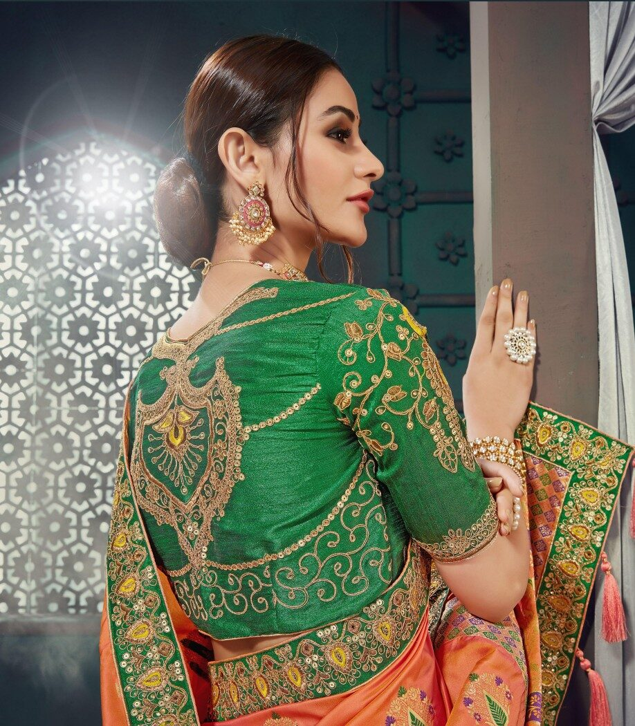 Orange Wedding Saree with Green Blouse