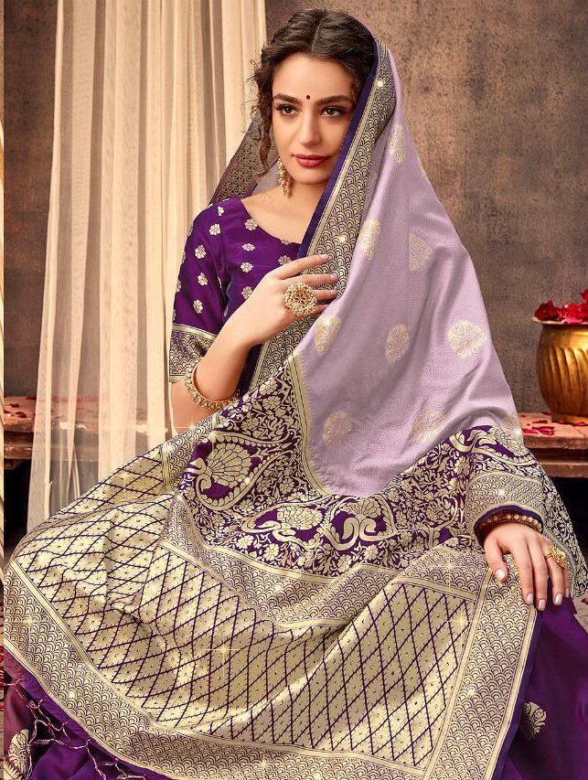 Part Wear Designer Light Purple Saree Contrast Blouse