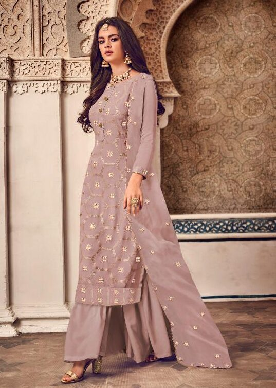Rosybrown Embroidered Designer Sharara Suits Online