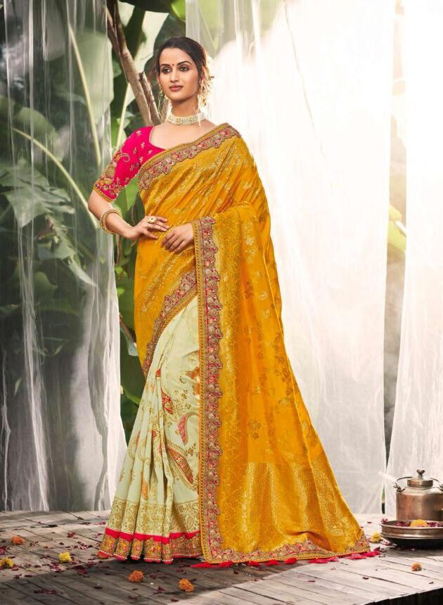 Wedding Party Wear Magenta Yellow Saree Blouse Combination