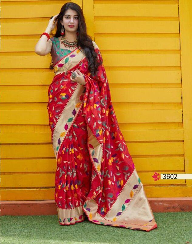 Red Banarasi Silk Saree with Green Blouse