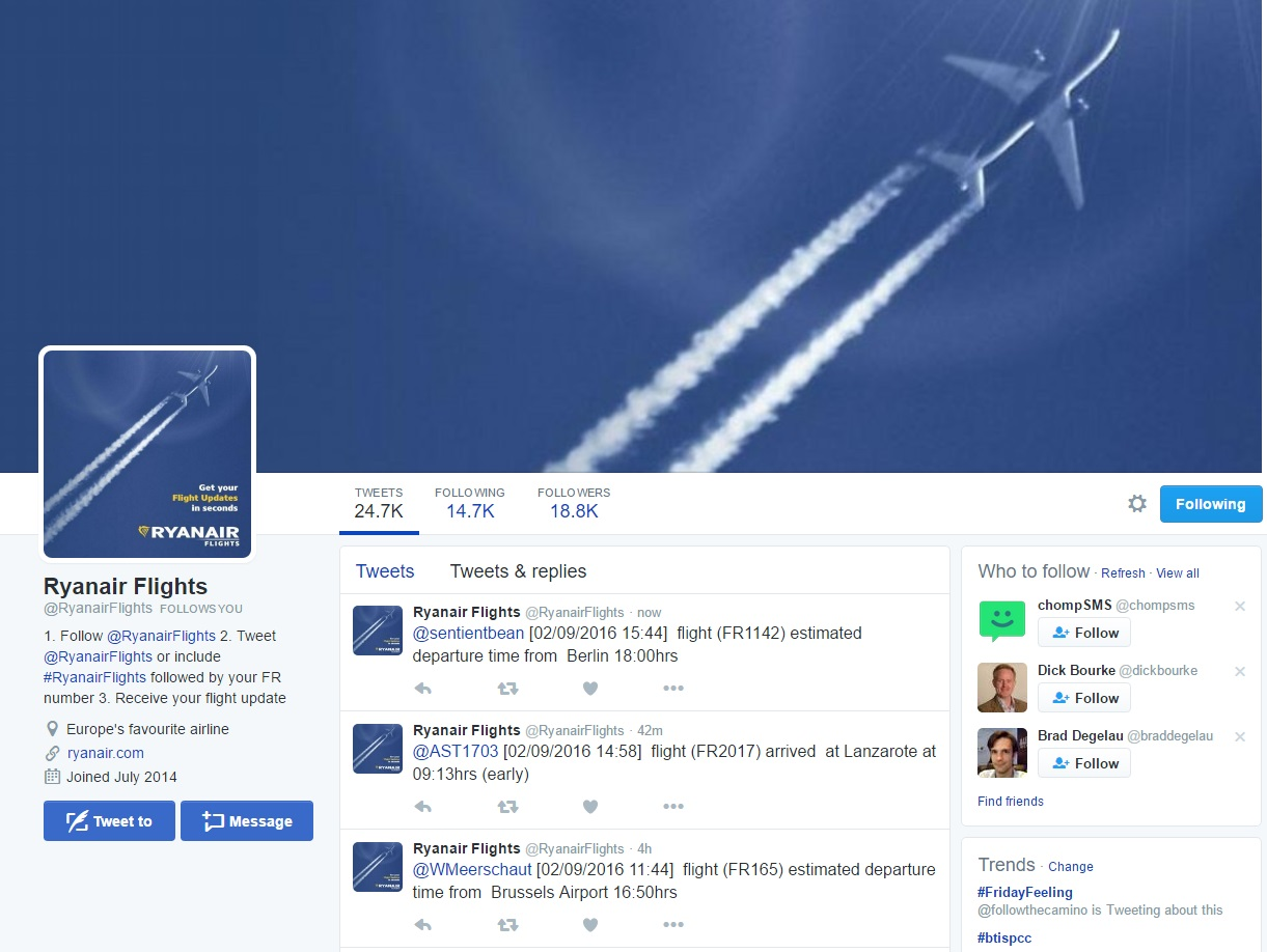 Ryanair Launches a TwitterBot