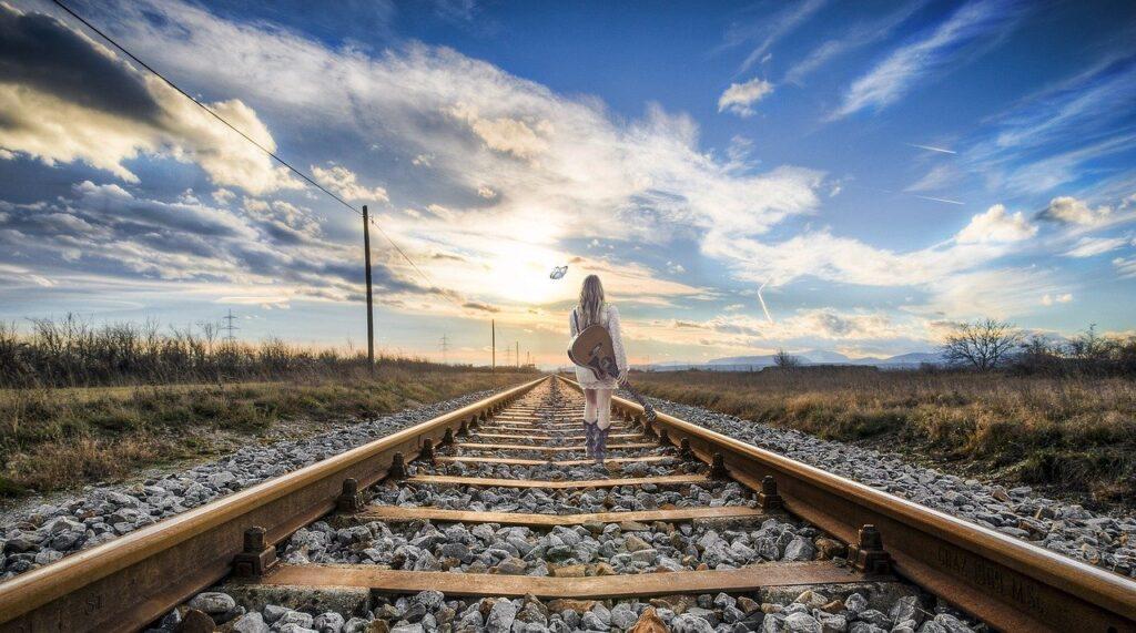 rail, girl, composing