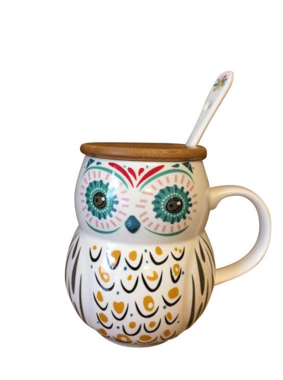 owl mug lid spoon