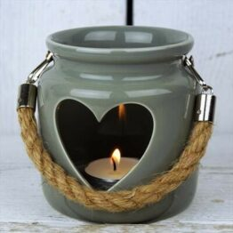 Grey heart ceramic tealight holder