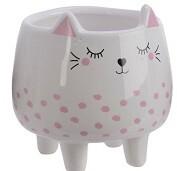 Pink White Mini Cat Planter