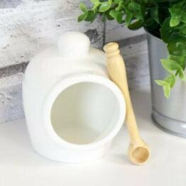 White Ceramic Salt Pig