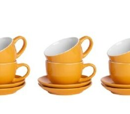 Set of 6 Mustard Cappuccino Cups