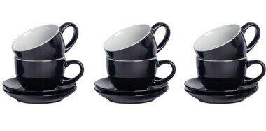 Set of 6 Black Cappuccino Cups