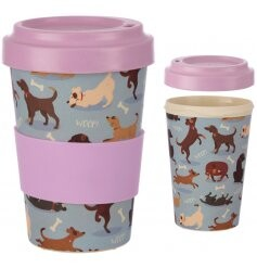Dog Design Bamboo Travel Mug