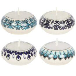 Set of 4 Blue Ceramic Tealight Holders