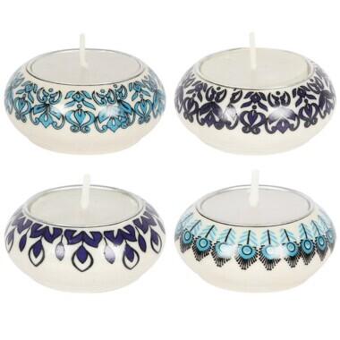 Set of 4 Blue Ceramic Tealight Holders