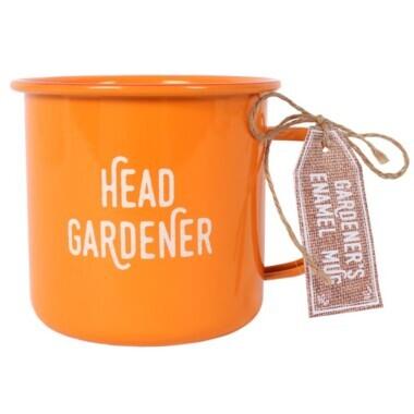 Orange Head Gardener Enamel Mug