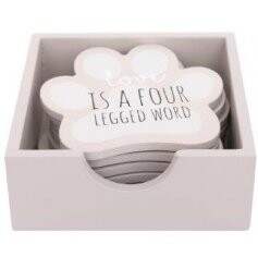 Set of 6 Dog Paw Coasters