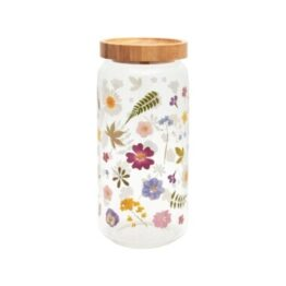 Pressed Flowers Glass Storage Jar Large
