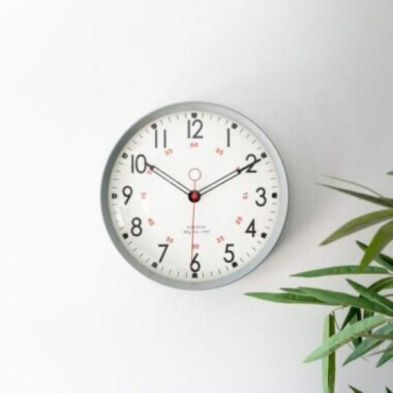 Retro Metal Wall Clock Grey