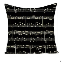 musical notes black and white cushion