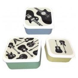 Set of 3 Headstock Guitar Lunch Boxes