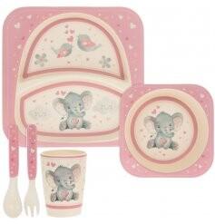 Pink Bird and Ellie Bamboo Dinner Set